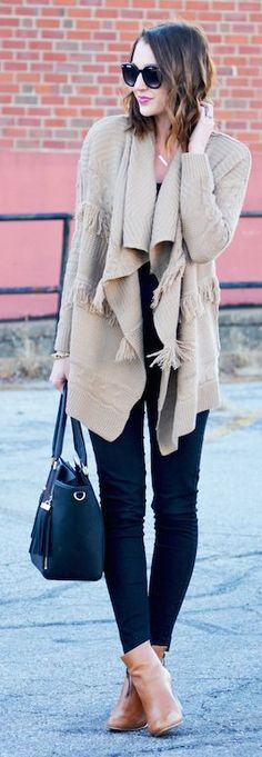 Camel Fringe Cable Knit Cardigan