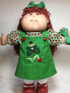 Cabbage Patch -- St Patricks Day Shamrock and Ladybug Jumper  Embroidery and apPLIQUE