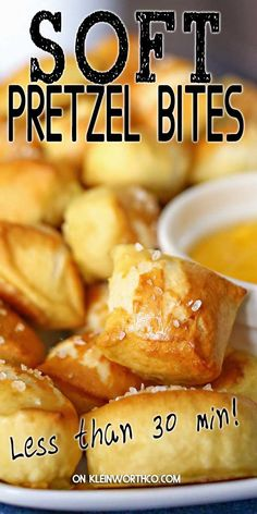 These lip-smacking Soft Pretzel Bites are so incredibly good youll want to make them all the time. Fortunately they are easy to make which means they the perfect game day race day snack. Appetizer Recipes, Snack Recipes, Dessert Recipes, Cooking Recipes, Breakfast Recipes, Vegan Recipes, Yummy Snacks, Yummy Food, Pretzels Recipe