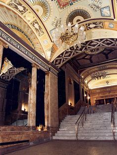 Pantages (Ed Mirvish) Theatre. Lobby painted, glazed and gilded with marbleized Wainscotting. Interior Decorating, Interior Design, Wainscoting, Old Hollywood, Luxury Homes, Theatre, Toronto, Restoration, Mood