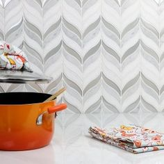 Chantilly Silent Storm White Marble & Glass Tile | TileBar.com