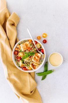 Salade blé, tomates cerises, petits pois et halloumi | Savoure la vie