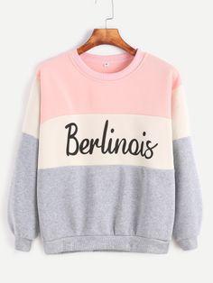 Sweatshirt Buchstaben Druck -kontrastfarbe
