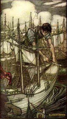 """Gulliver seizes the enemy's fleet. Illustration by Arthur Rackham from """"Gulliver's travels"""" by Jonathan Swift Arthur Rackham, Kay Nielsen, Harry Clarke, Gulliver's Travels, Ecole Art, William Blake, Fairytale Art, Children's Book Illustration, Book Illustrations"""