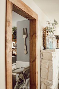 Door Frame Molding, Wood Door Frame, Wood Doors, Oak Door Frames, Wood Molding Trim, Moldings And Trim, Moulding, Stained Trim, Faux Beams