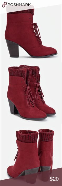 Maroon faux suede bootie ✨ LIKE NEW Maroon booties. Dressy or casual. Any season! ONLY WORN ONCE! Super comfortable! Chunky block heel. Feel free to make an offer or bundle!!!✨✨✨ JustFab Shoes Ankle Boots & Booties