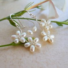 White Pearls Wire Wrapped Flower Earrings