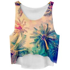 Chicnova Fashion Sleeveless Palm Tree Print Tank Top ($5.60) ❤ liked on Polyvore featuring tops, sleeveless tank tops, scoop neck tank, scoop neck top, scoopneck top and sleeveless tops