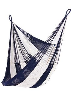 Hanging Chair Hammock | Navy Blue + White | Yellow Leaf Hammock - Gifts That Give Back. Every Yellow Leaf Hammock is 100% handwoven by hill-tribe artisans in rural northern Thailand. The opportunity to weave hammocks and earn a good wage is transformative for the weavers and their families.