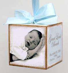 Personalized Hanging Photo Baby Block First Birth Announcement Gift Boy. $23.00, via Etsy.