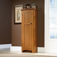 Pantry furniture comes in a carolina oak finish 401867 sauder select