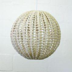 lamp shade, hemp crochet - moonbasket