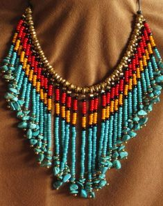Inspiration piece for a smaller necklace. Native American style fringed turquoise, red, and gold seed bead necklace Beaded Necklace Patterns, Beaded Choker, Beaded Earrings, Beading Patterns, Fringe Necklace, Seed Bead Necklace, Seed Bead Jewelry, Seed Beads, Jewelry Rings