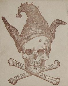 "Very rare, original, ca1861, Anti-Confederate States Civil War Illustrated Patriotic Envelope / Cover with a skull and crossbones cache. This Anti Confederate Civil War Cover... is titled ""A Confederate 'DEAD HEAD'"". It features a human skull above crossed bones. The skull wears the hat of a court jester and donkey ears. Text... reads ""20 Dollars a Head"" and ""Dead or Alive"". There is a bullet hole in the forehead... and the initials ""JD"" for Jefferson Davis can be seen on the donkey ears."
