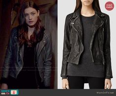 Haley's black leather moto jacket on The Originals.  Outfit Details: http://wornontv.net/48388/ #TheOriginals