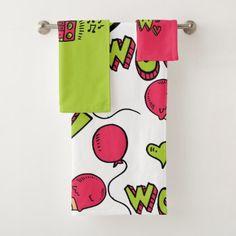 modern monogram Bathroom Towel Set - personalize custom customizable