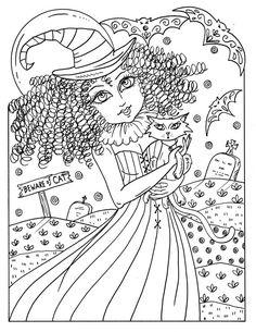 Plaisir magique Coloriage sorcières Halloween par ChubbyMermaid