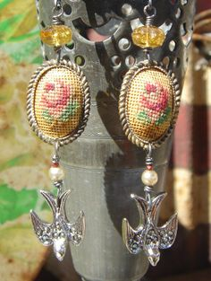 Birds and Blooms  Antique Petit Point Bird Assemblage Earrings,One of a Kind.