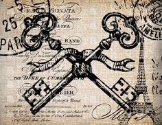 French Keys Postmarks Ornate Script Digital Download for Papercrafts, Transfer, Pillows, etc. Burlap No 2457. $1.00, via Etsy.