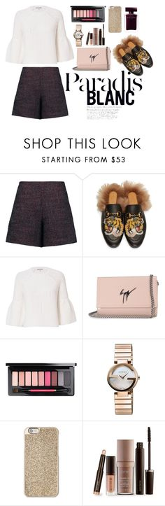 """Untitled #329"" by qaireenrs ❤ liked on Polyvore featuring Carven, Gucci, Elizabeth and James, Giuseppe Zanotti, Michael Kors, Laura Mercier and Narciso Rodriguez"