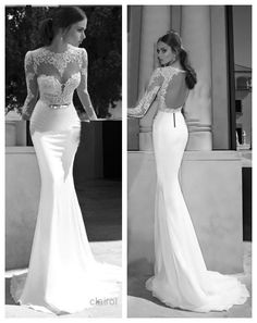 2015 Sexy Long Sleeve Prom Evening Gowns Sheer Lace Sheath Wedding bridal Dress in Clothing, Shoes & Accessories | eBay