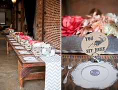 #gray chevron table running (credit: Rockrose Floral Design)