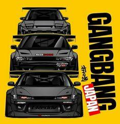 Tuner Cars, Jdm Cars, Nissan Nismo, Nissan Silvia, Drifting Cars, Car Illustration, Import Cars, Japan Cars, Car Drawings
