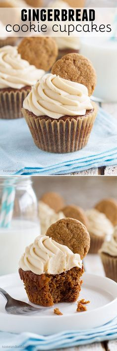 Tis the season! These Gingerbread Cookie Cupcakes have a gingerbread cookie bottom topped with a gingerbread cupcake. Then they are topped off with a brown sugar cream cheese frosting and another gingerbread cookie for triple gingerbread love!                                                                                                                                                                                 More