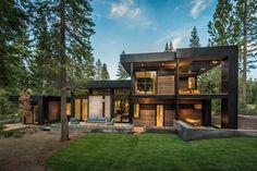 Houseplans Modern Wooden House, Modern House Plans, Modern House Design, Wooden Houses, Modern Tropical House, Modern Mountain Home, Mountain Living, Mountain Homes, Modular Home Builders