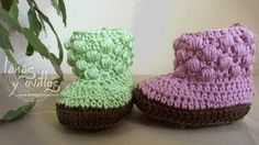 Bobble Baby Booties - Free #crochet video tutorial & pattern - in Spanish with English subtitles