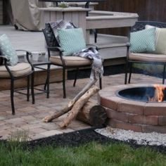 Before and After:  Backyard makeover with DIY firepit and paver patio.