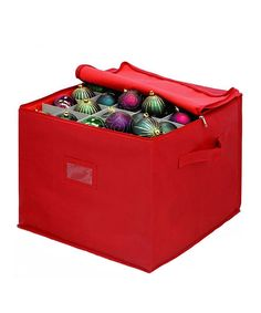 Christmas Ornament Storage Box in Red Red Synthetic Fiber