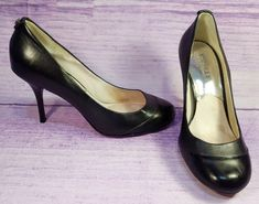 9e440af7ef Michael Kors Black Leather Womens Pumps Heels Round Toe Silver Grommets  Size 8 M #MichaelKors