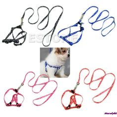 1Pc Small Dog Pet Puppy Cat Adjustable Nylon Harness with Lead leash 5 Colors