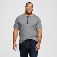 Men's Big & Tall Dark Gray Short Sleeve Henley Shirt 5XB Tall - Merona