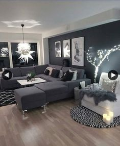 Schwarze Wohnzimmer-Ideen - Anja M Living Room Ideas - Anja M . Living Room White, Home Living Room, Apartment Living, Interior Design Living Room, Cozy Living, Cozy Apartment, Dark Grey Sofa Living Room Ideas, Black And White Living Room Ideas, Rustic Apartment