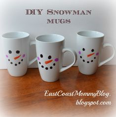 East Coast Mommy: DIY Snowman Mugs Scroll to bottom to see how This procedure worked well. Diy Snowman Gifts, Snowman Mugs, Snowman Crafts, Crafts To Do, Easter Crafts, Holiday Crafts, Holiday Fun, Diy Gifts, Crafts For Kids
