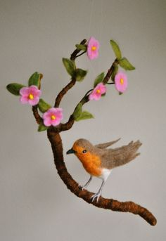 Spring Mobile Waldorf Inspired Needle Felted Bird : Life size american robin in a branch with flowers