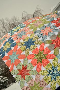 Salt Water Starburst Quilt Top by sewcraftyjess, via Flickr
