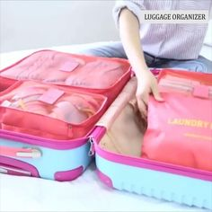 Make packing and traveling stress free with our 6 piece luggage organizer set Each set comes with 6 separate pieces (as shown in the photos)! Our organizer keeps your clean clothes, laundry, toiletries, and underwear separate and organized! Available in 6 fun colors! Travel Packing, Travel Luggage, Travel Bags, Girl Tips, Useful Life Hacks, Cool Things To Buy, Stuff To Buy, Stress Free, Travel Essentials