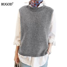 2017 Spring Cashmere Vest Women Korean Sleeveless O-Neck Knitted Vests Long Short Poullover Vest Female Solid Knitwear Jumper Sweater Vest Outfit, Vest Outfits, Sweater Vests, Women's Vests, Tunic Sweater, Womens Windbreaker, Windbreaker Jacket, Wool Sweaters, Knitting Sweaters