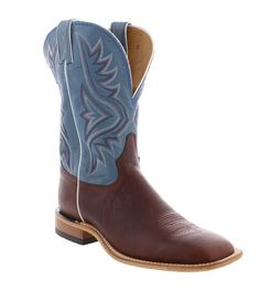 "Tony Lama Americana 11"" Denim Blue over Pecan Bison Wide Square Toe Boots  with deep scallops and leather outsoles distressed leather ""Made in the U.S.A."" ""USA-made"" ""gifts for cowboys"" ""gifts for men"" drysdales.com western menswear for cowboys rancher ranchwear rugged"