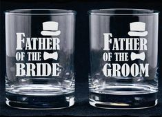 Father of the Bride or Groom (ONE) Etched Flutes Goblets Toasting Rocks Glasses