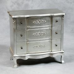 Antiqued Silver Leaf French Style Small Chest of Drawers