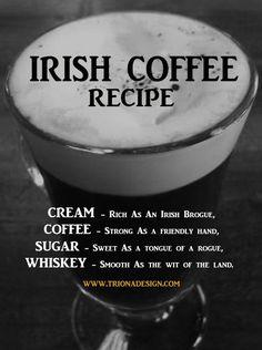 Recipe for Irish Coffee and a brief history of this popular Irish drink Irish Drinks, Irish Culture, Irish Coffee, Asian, Donegal, Coffee Recipes, Tweed, Stuffed Peppers, Popular