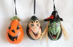 Set of 3 Mini Jack-O-Lanterns, Witch & Dracula Halloween Ornaments - Hand Painted Gourds Halloween Gourds, Halloween Ornaments, Christmas Ornaments, Hand Painted Gourds, Hand Painted Ornaments, Gourds Birdhouse, Jack O, Black Ribbon, Dracula