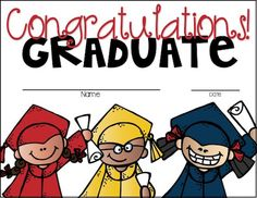 Graduation Certificates We end the school year in less than a month. Last Day Of School, School Fun, Pre School, School Stuff, Upper Elementary, Elementary Schools, Preschool Certificates, First Year Teaching, End Of Year Activities