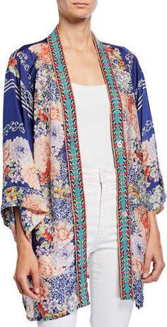 Johnny Was Plus Size Blati Printed Silk Shorter Kimono with Embroidered Trim Short Kimono, Kimono Top, Kimono Sewing Pattern, Silk Shorts, Johnny Was, Designs To Draw, Printed Silk, Autumn Fashion, Plus Size