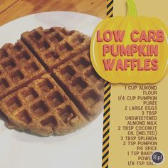 . Low Carb Pumpkin Waffles. ••🎃 . Usually I post my own recipes, this one is actually a Pinterest one. ••🍁. . That being said the next time I make these I'm definitely doctoring... I think 1/2 cup of pumpkin puree, 1/4 cup almond milk would make these waffles perfect! ••🍂. . #pumpkin #october #waffles #pancake #macrofriendly #halloween #fallfood #lowcarb #breakfast #protein #recipes #recipe #pumpkineverything