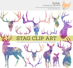 watercolor stag - Пошук Google